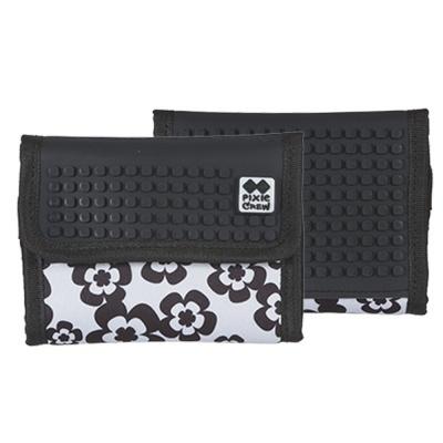 Kreative Pixel Geldbörse PIXIE CREW Blüten in schwarz und weiß PXA-10-03