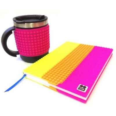 Kreatives SET - Pixel Notizbuch mit Umschlag bunt + Pixel Thermotasse violette