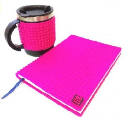 Kreatives SET - Pixel Notizbuch mit Umschlag in violette + Pixel Thermotasse in violette