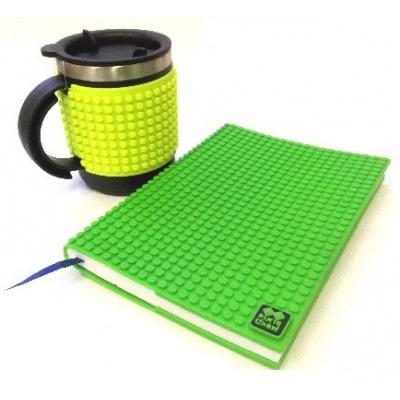 Kreatives SET - Pixel Notizbuch mit Umschlag in grün + Pixel Thermotasse in neongrün