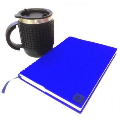 Kreatives SET - Pixel Notizbuch mit Umschlag in blau + Pixel Thermotasse in schwarz