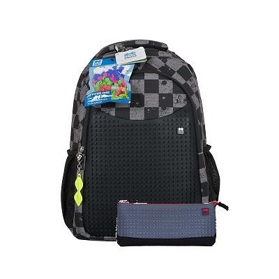 Kreativer Pixel Schulrucksack mit Federmappe grauer Würfel PXB-16-06